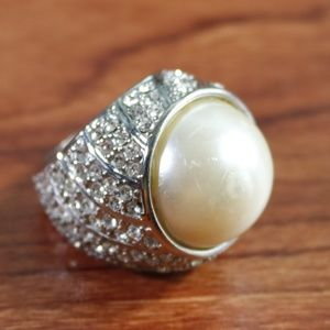 Faux Pearl Silver Ring